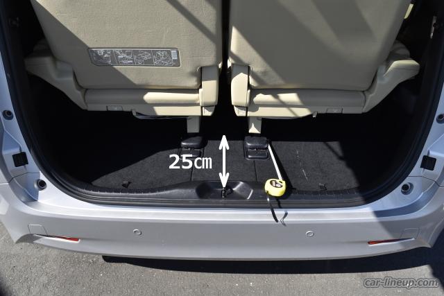 アルファードのサードシートを目一杯後にスライドさせた時の荷室寸法