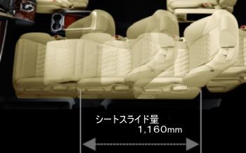 助手席が1,160mmまでスライド