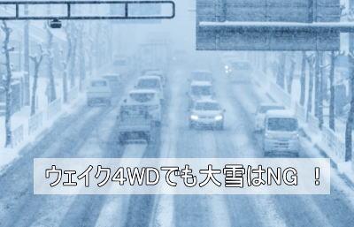 ウェイク4WDの雪道走行性能はあくまで普段使い程度なので、大雪のときは無理はできない。
