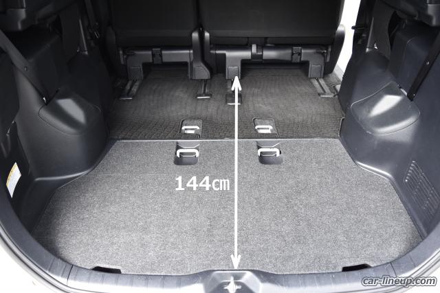 ヴォクシーのセカンドシートにギリギリ人が乗れる位、セカンドシートを前にスライドさせた状態の荷室スペース