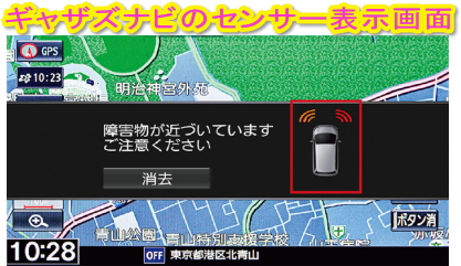 パーキングセンサーのギャザズナビ表示画面