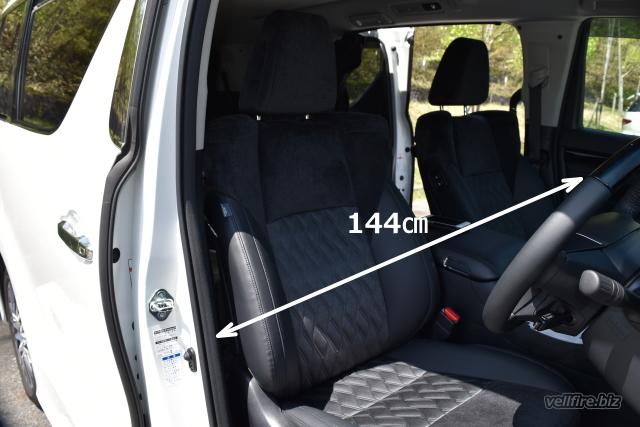 ヴェルファイアの運転席ドアと助手席ドアまでの寸法