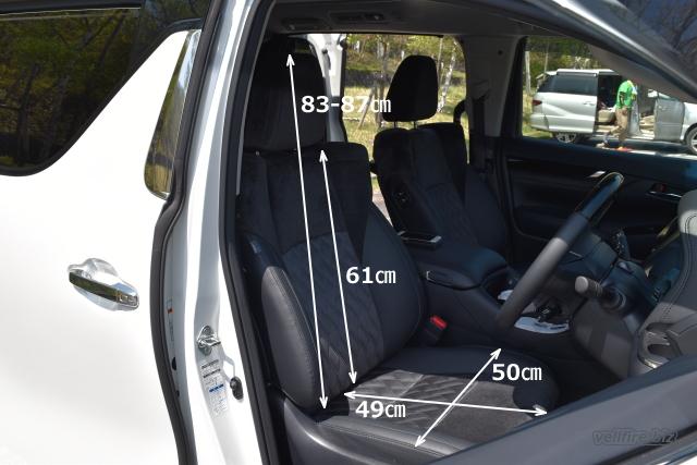 ヴェルファイアの運転席の寸法