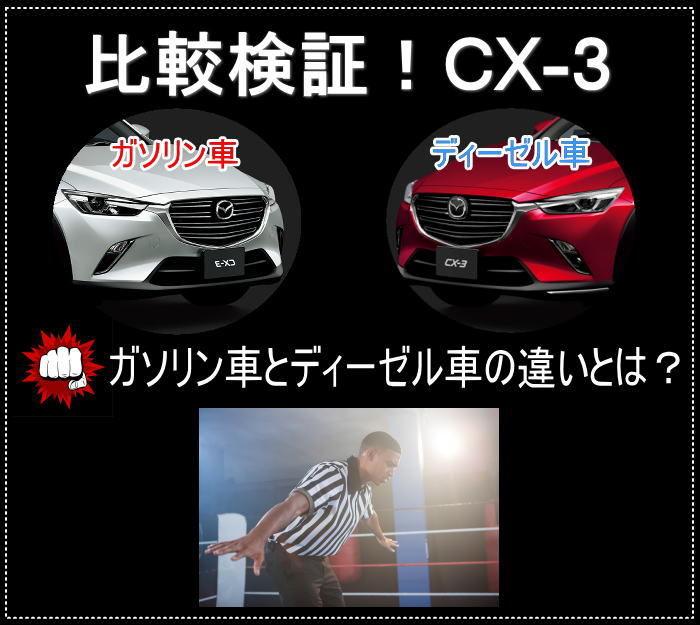 CX-3のガソリンとディーゼルの違いは?比較して徹底解説!
