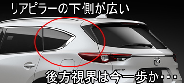 CX-8の後方視界は悪い。