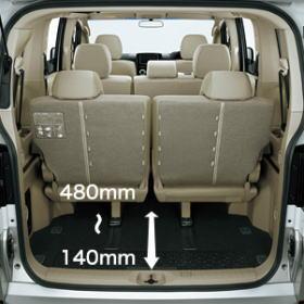デリカD5の7~8人乗車の荷室は狭い。