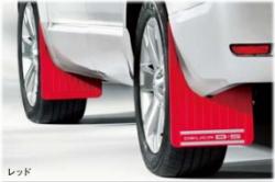 デリカD5のディーラーオプション・マッドフラップ赤