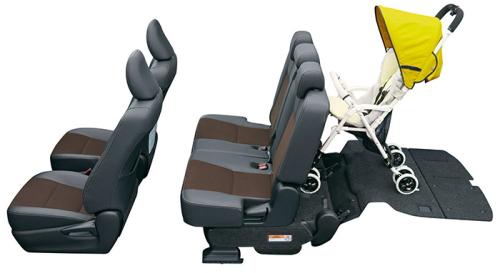 シエンタの6・7人乗りのシートアレンジ サードシートアレンジモード(最大4~5人乗車)