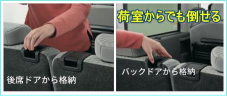 タントの後部座席を倒すレバー