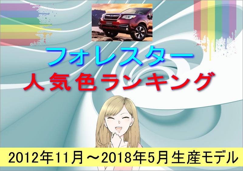 フォレスターの人気色ランキング(2012年11月~2018年5月生産モデル)
