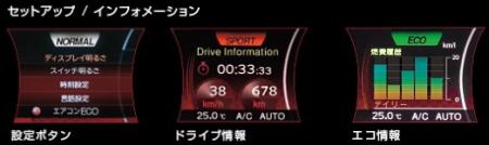 ジュークのセンターコンソールのディスプレイに平均速度、アイドリングストップ時間、平均燃費などを表示