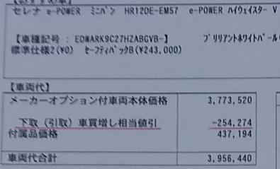 セレナe-POWERハイウェイスターVの値引き金額