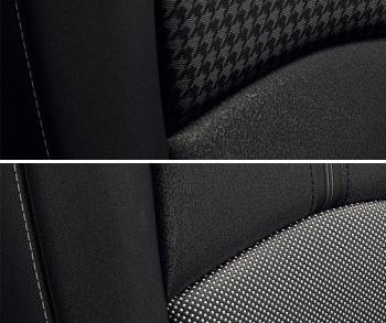 ブラック内装・シート表皮の違い(上・千鳥格子/下・クロス)