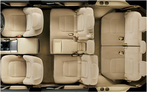 ランドクルーザーの8人乗りのシートアレンジ・セカンドシート左側スライド+セカンドアームレスト使用状態