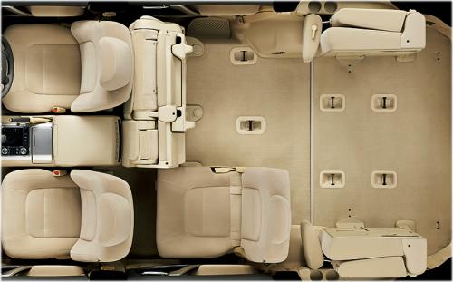 ランドクルーザーの8人乗りのシートアレンジ・セカンドシート右側タンブル+サードシートスペースアップ状態