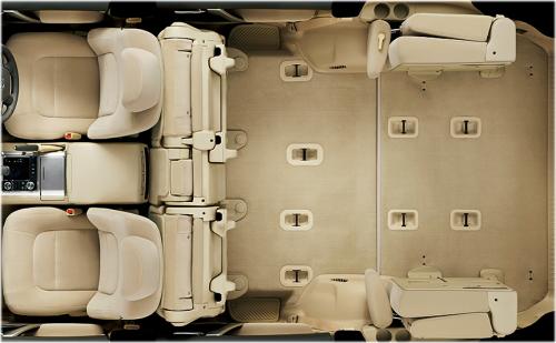 ランドクルーザーの8人乗りのシートアレンジ・セカンドシートタンブル+サードシートスペースアップ状態
