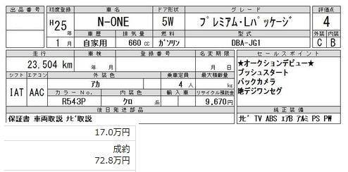 N-ONE仕入れ価格