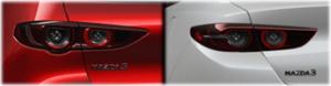 左がファストバック、右がセダン。テールランプの形状でも見分けられる。